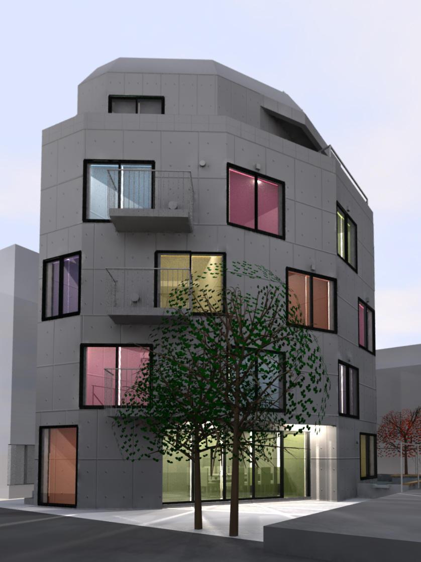 輻射式壁冷暖房を導入したシェアハウス