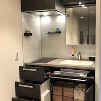 三菱地所レジデンス、キッチンと洗面化粧台を合体